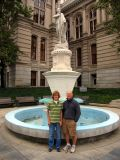Josiah and Craig Lamb at Courthouse fountain