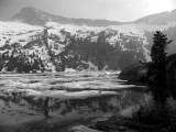 Grizzly Lake is still snow covered in BW