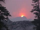 Smokey sunset at Grizzly Lake