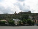 Tbilissi - view of Narikala citadel from Metekhi bridge