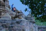 Descending the steps - temple at Kajuraho