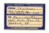 J. R. Williams return label