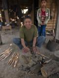 Producing new shuttles for the family loom - Ban Nong Bua - Laos