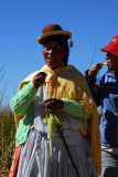 Uros woman, Floating islands