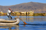 Reed boat with a paddle-cum-rudder, Lake Titicaca
