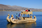 Deluxe reed boat arriving, Uros Islands, Lake Titicaca