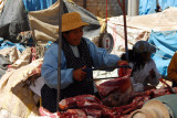 Butcher with a hacksaw, Puno Market