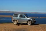 Our Suzuki rental with Lake Titicaca