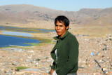 Marcos on Cerro Asogini with Lake Titcaca, Puno