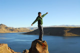 Marcos on top of a rock, Sillustani