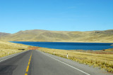 The new road from Juliaca to Arequipa on the north side of Laguna Lagunillas