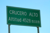 High pass - Crucero Alto - 4528m (14,855ft)