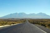 The road headed straight for Nevado Chachani