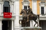 Equestrian statue of Marcus Aurelius, Piazza del Campidoglio, in front of the Musei Capitolini