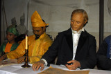 Images of Singapore - Sir Stamford Raffles signing a treaty with Malay rulers Sultan Hussein Shah and Temenggong Abdul Rahman