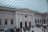 Great Court of the British Museum under a tessellated glass roof