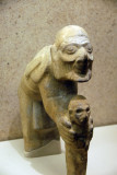Limestone figure of an old man and boy, Huaxtec, AD900-1450