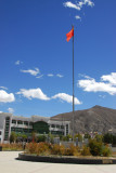 Chinese flag in the park in front of Lhatse Kitchen