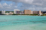 Shallow blue water of Tumon Bay with the Hyatt Regency, Outrigger, Guam Reef Hotel, Westin and Aurora (right to left)