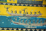 War canoes painted on the gable of a Palauan Bai