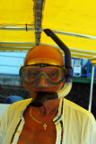 Dad trying on his snorkel gear