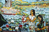 Mosaic of woman making bouquets of water lilies, the national flower of Bangladesh