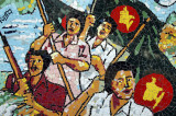 Mosaic with the new flag of the Mukti Bahini (Liberation Army) during the 1971 Bangladesh Liberation War