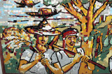 Mosaic on the wall of the Bangla Academy of farmers heading to the fields