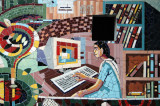 Mosaic of a student from Viqarunnisa Noon School using a computer