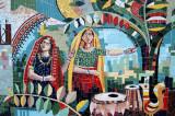 Mosaic of two women in traditional Bengali clothing, Viqarunnisa Noon School