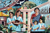 Mosaic of younger and older students at Viqarunnisa Noon School, an all-girls school in Dhaka