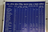 Bangladesh Railway departure board - the whole country is linked by almost 3000 km of railway track