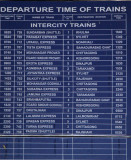 Schedule of Intercity train departures from Dhaka Kamalapur (Jan 2008)