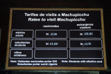 We picked up the Machu Picchu tickets the night before - here the rates