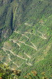 The zigzag road from Aguas Calientes to Machu Picchu