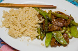 stir fry with beef, snow peas and quinoa