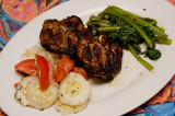grilled chicken, broccoli rabe, salad