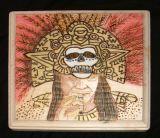 Aztec with Gold  Skull Headdress.