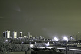 Skyline of Ft Worth, TX. at sunset in IR