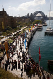 Pilgrims at Circular Quay West with Sydney Harbour Bridge Australia
