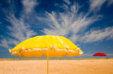 Yellow umbrella at Narrabeen Beach, Sydney, Australia