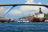 Ship going under the Queen Juliana Bridge