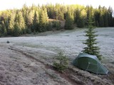 Heavy frost on the tent in San Pedro mountains, New Mexico