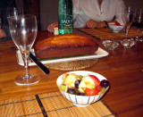 Fruit salad and cake