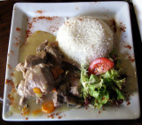 Blanquette de veau with rice and salad