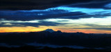 Mt Rainier and Mt Stuart at sunset
