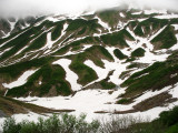 Snow patterns on the mountainside