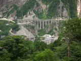 View down on the dam from Kurobe-daira