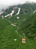 Cable car leaving Kurobe-daira