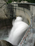 Massive discharge on the dam's outer wall